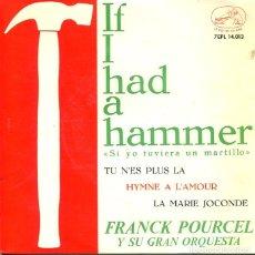 Discos de vinilo: FRANCK POURCEL / IF I HAD A HAMMER + 3 (EP LA VOZ DE SU AMO 1963). Lote 288970323