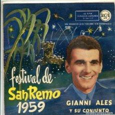 Discos de vinilo: GIANNI ALES (FESTIVAL DE SAN REMO 1959) CHA CHAO BAMBINA / IO SONO IL VENTO + 2 (EP RCA 1959). Lote 288976638