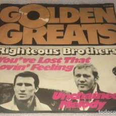 Discos de vinilo: SINGLE THE RIGHTEOUS BROTHERS - YOU'VE LOST THAT LOVIN' FEELING - UNCHAINED MELODY -PEDIDO MINIMO 7€. Lote 289026953