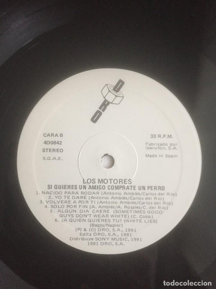 Discos de vinilo: Los Motores - Si quieres un amigo cómprate un perro - LP DRO 1991. Edición española. - Foto 4 - 289028383