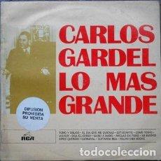Discos de vinilo: CARLOS GARDEL LO MAS GRANDE LP VINILO PROMO ARG. Lote 289138298