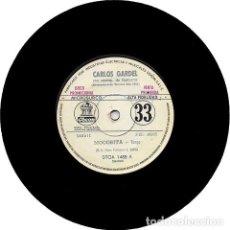 Discos de vinilo: CARLOS GARDEL MOCOSITA VINILO 45 PROMOCIONAL ETIQUETA BLANCA. Lote 289139398