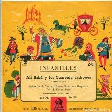 Discos de vinilo: INFANTILES (CUENTOS) ALI BABA Y LOS CUARENTA LADRONES (EP ODEON VINILO VERDE). Lote 289202493