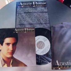 Discos de vinilo: AGUSTIN PANTOJA-SINGLE ADIOS AMOR-PROMO HOJA DE PRENSA-NUEVO. Lote 289213963