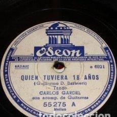 Discos de vinilo: PASTA CARLOS GARDEL CON GUITARRA ODEON 6451 6921 55275 VC39. Lote 289289768