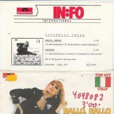 Discos de vinilo: 45 GIRI RAFFAELLA CARRA' BALLO BALLO /PASSERA' LABEL POLYDOR 1982 WEST GERMANY AVEC INFO. Lote 289300988