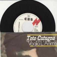 Discos de vinilo: 45 GIRI TOTO CUTUGNO VOGLIO L'ANIMA 'NA PAROLA LABEL CBS 7933 GERMANY. Lote 289301263