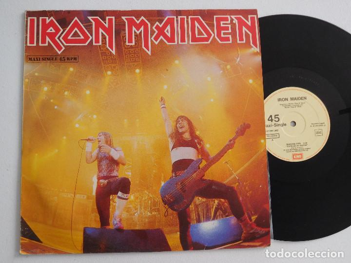 IRON MAIDEN. 12 SINGLE. RUNNING FREE LIVE. EDICIÓN ORIGINAL ESPAÑOLA DEL 1985 (Música - Discos de Vinilo - Maxi Singles - Heavy - Metal)