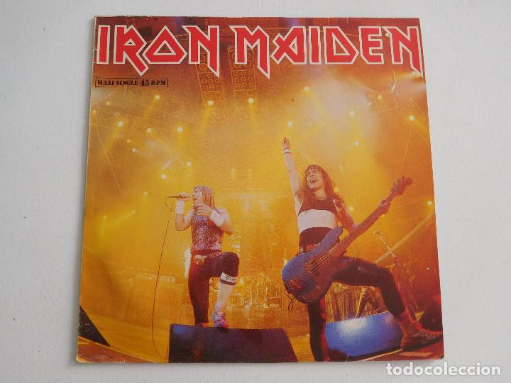 Discos de vinilo: Iron Maiden. 12 Single. Running free live. Edición original española del 1985 - Foto 2 - 289354058
