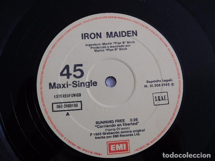 Discos de vinilo: Iron Maiden. 12 Single. Running free live. Edición original española del 1985 - Foto 5 - 289354058