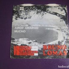 Discos de vinilo: BRUNO LOMAS – AMOR AMARGO / MUCHO - SG REGAL 1966 - SOUL ROCK - FESTIVAL BENIDORM - LEVE USO. Lote 289470773