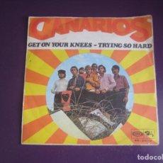 Discos de vinilo: CANARIOS - GET ON YOUR KNEES +1 SG SONOPLAY 1968 - SOUL - CON USO, NADA GRAVE. Lote 289487313