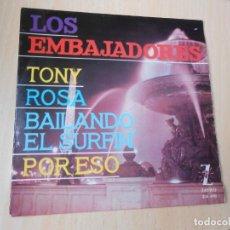 Discos de vinilo: EMBAJADORES, LOS, EP, TONY + 3, AÑO 1963. Lote 289492353