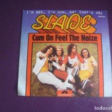 Discos de vinilo: SLADE – CUM ON FEEL THE NOIZE - SG POLYDOR 1973 - GLAM ROCK 70'S - LEVE USO. Lote 289497718