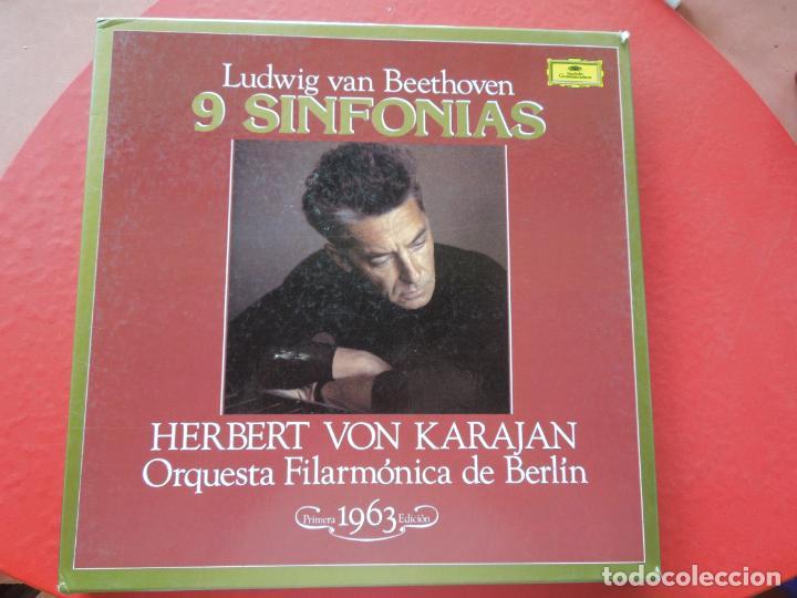 BEETHOVEN-9 SINFONIAS-HERBERT VON KARAJAN-8 LPS DEUTSCHE GRAMMOPHON EN CAJA CON LIBRETO-1ª ED. 1963. (Música - Discos - LP Vinilo - Clásica, Ópera, Zarzuela y Marchas)