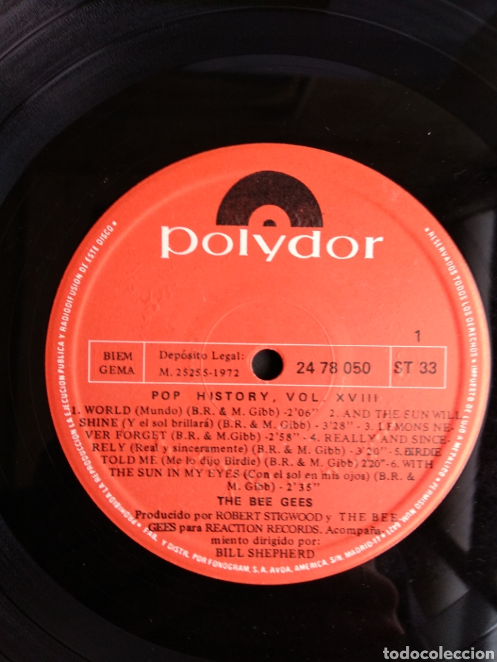 Discos de vinilo: THE BEE GEES, POP HISTORY VOL.18 - Foto 5 - 289516903