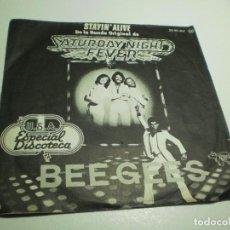 Discos de vinilo: SINGLE BEE GEES. SATURDAY NIGHT FEVER. RSO 1977 SPAIN (PROBADO, BUEN ESTADO). Lote 289519813