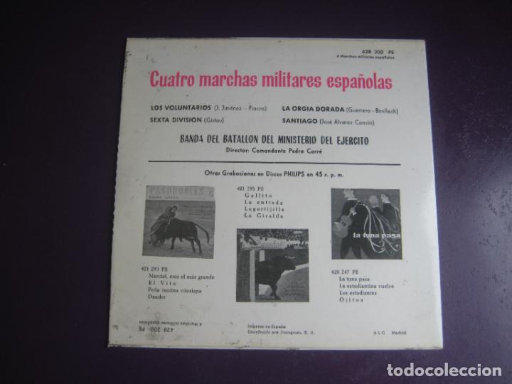 Discos de vinilo: 4 MARCHAS MILITARES ESPAÑOLAS EP PHILIPS 1969 - LOS VOLUNTARIOS +3 - BANDA MINISTERIO EJERCITO - Foto 2 - 289543693