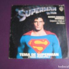 Discos de vinilo: JOHN WILLIAMS - TEMA DE SUPERMAN - SG WARNER 1978 - ELECTRONICA BSO CINE - LEVE USO. Lote 289545383