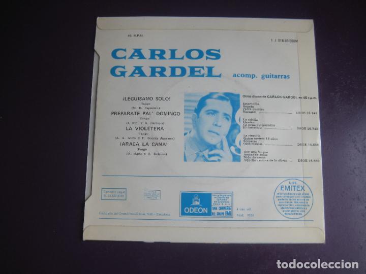 Discos de vinilo: CARLOS GARDEL - EP EMI ODEON 1969 - LEGUISAMO SOLO +3 - TANGOS ARGENTINA - FOTO BUENOS AIRES - Foto 2 - 289548993