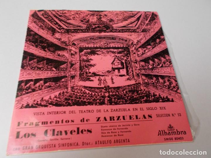 FRAGMENTOS DE ZARZUELA LOS CLAVELES SELECCIÓN Nº 53 (Música - Discos de Vinilo - EPs - Clásica, Ópera, Zarzuela y Marchas)