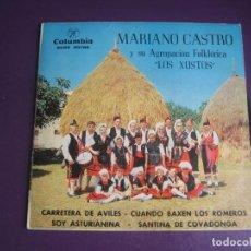 Discos de vinilo: MARIANO CASTRO Y SU AGRUPACION LOS XUXTOS - EP COLUMBIA 1964 - FOLK TRADICIONAL ASTURIAS. Lote 289566653