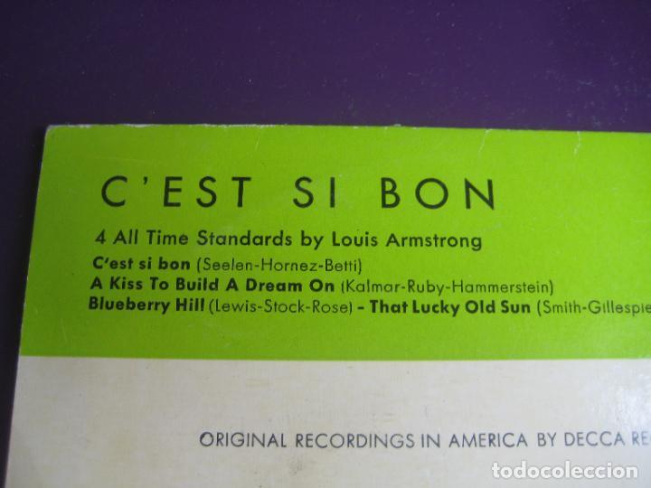 Discos de vinilo: Louis Armstrong – Cest Si Bon +3 - EP BRUNSWICK 1959 - JAZZ BIG BAND - CON USO, NADA GRAVE - Foto 3 - 289566873