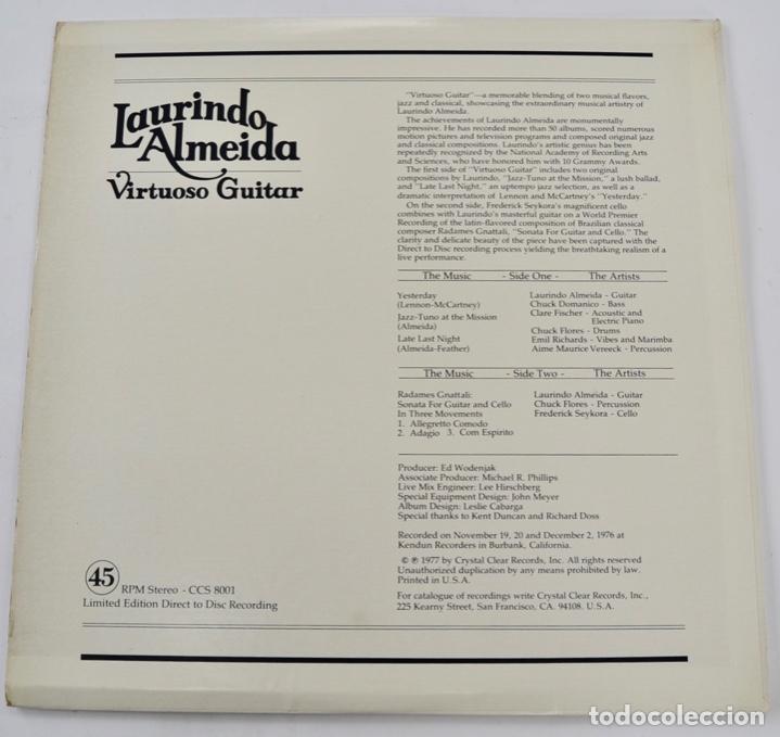 Discos de vinilo: Laurindo Almeida. Virtuoso Guitar. Limited Edition. Direct to Disc Recording. Crystal Clear. 1977 - Foto 2 - 289596008