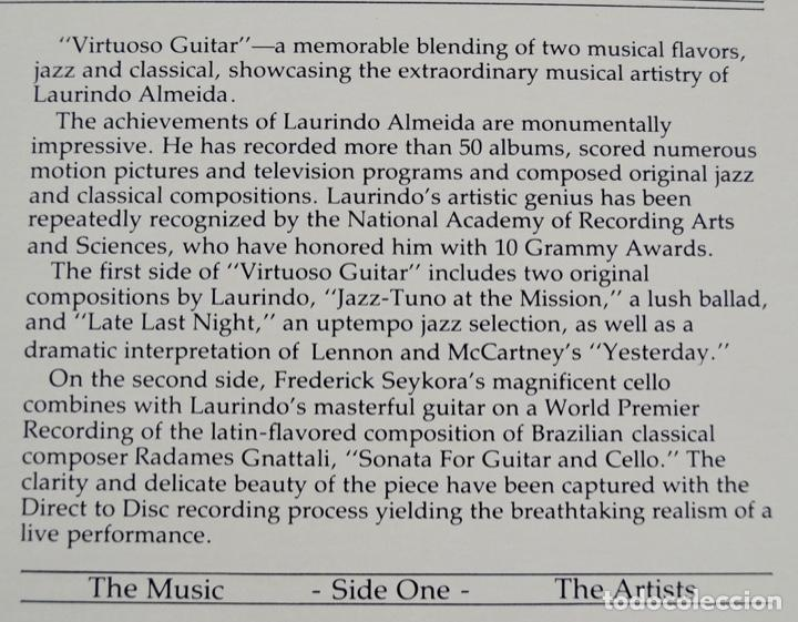 Discos de vinilo: Laurindo Almeida. Virtuoso Guitar. Limited Edition. Direct to Disc Recording. Crystal Clear. 1977 - Foto 4 - 289596008