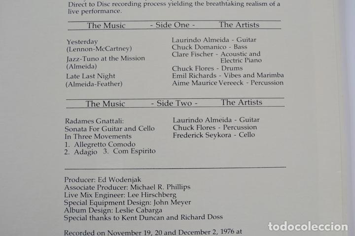 Discos de vinilo: Laurindo Almeida. Virtuoso Guitar. Limited Edition. Direct to Disc Recording. Crystal Clear. 1977 - Foto 5 - 289596008