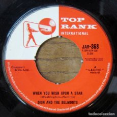 Discos de vinilo: DION AND THE BELMONTS - WHEN YOU WISH UPON A STAR / MY PRIVATE JOY - 1960 - DOO WOP. Lote 289621608