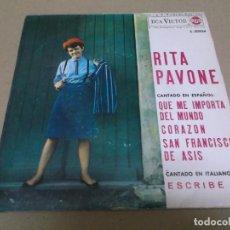 Discos de vinilo: RITA PAVONE (EP) QUE ME IMPORTA EL MUNDO AÑO – 1964. Lote 289647028