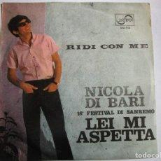 Discos de vinilo: NICOLA DI BARI 16 FESTIVAL DI SANREMO LEI MI ASPETA , RIDI CON ME. Lote 289662128