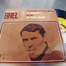 Discos de vinilo: JACQUES BREL-EP LA CHANSON DES VIEUX AMANTS +3-ESPAÑOL 1967. Lote 289678403
