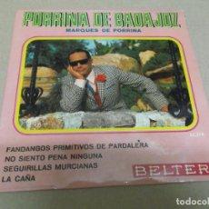Discos de vinilo: PORRINA DE BADAJOZ (EP) FANDANGOS PRIMITIVOS DE PARDALERA AÑO – 1969. Lote 289680973