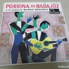 Discos de vinilo: PORRINA DE BADAJOZ (EP) DONDE BEBEN MIS PALOMAS AÑO – 1961. Lote 289681153