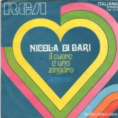 Discos de vinilo: NICOLA DI BARI - IL CUORE É UNO ZINGARO - AGNESE - 'SAN REMO FESTIVAL '71- SINGLE ITALY. Lote 289703498