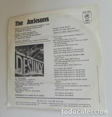 Discos de vinilo: THE JACKSONS MUEVE TU CUERPO DISCO DE VINILO 45 RPM GRUPO AÑOS 70 MICHAEL JACKSON MÚSICA POP FIVE 5 - Foto 3 - 289717718