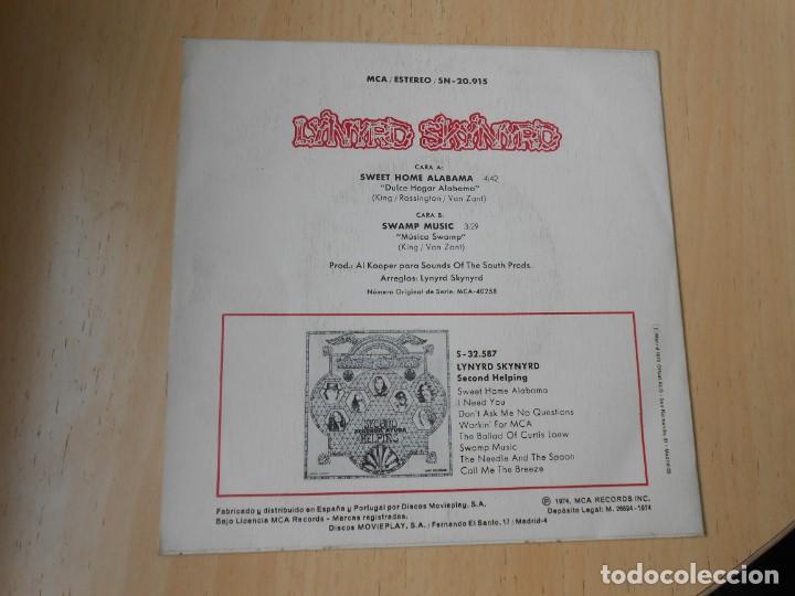 Discos de vinilo: LYNYRD SKYNYRD, SG, SWEET HOME ALABAMA + 1, AÑO 1974 - Foto 2 - 289722328