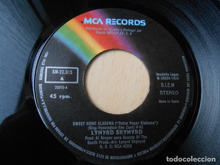 Discos de vinilo: LYNYRD SKYNYRD, SG, SWEET HOME ALABAMA + 1, AÑO 1974 - Foto 3 - 289722328
