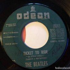 """Discos de vinilo: BEATLES """"TICKET TO RIDE / YES IT IS"""", SINGLE 7"""" EDICIÓN ESPAÑOLA 1965 (SIN PORTADA). Lote 289740018"""