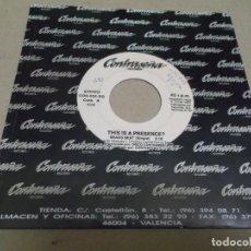 Discos de vinilo: THIS IS A PRESENCE? (SINGLE) BRASS BEAT AÑO – 1993 – PROMOCIONAL. Lote 289763198