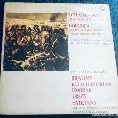 Discos de vinilo: TCHAIKOVSKY, BORODIN, BRAHMS, DVORAK, LISZT, SMETANA, KHACHATURIAN. 2 LPS. DISCOS MARFER. 1982.. Lote 289767798