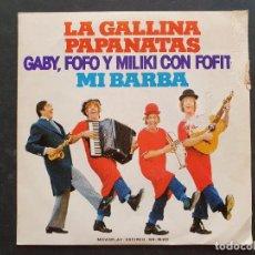 Discos de vinilo: GABY FOFO Y MILIKI CON FOFITO (SINGLE 1974) LA GALLINA PAPANATAS - MI BARBA -LOS PAYASOS DE LA TELE. Lote 289772613