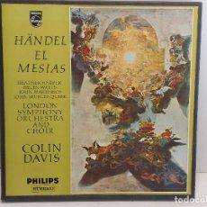Discos de vinilo: CAJA-ÁLBUM / EL MESIAS / HÄNDEL / COLIN DAVIS / 3 VINILOS IMPECABLES + LIBRETO. / DE LUJO.. Lote 289794488