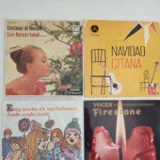 Discos de vinilo: 4 DISCOS VINILO 45 RPM - VILLANCICOS NAVIDAD GITANA CANCIONES DE NAVIDAD CORO NORMAN LUBOFF. Lote 289825243