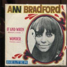 Discos de vinilo: ANN BRADFORD . IF AND WHEN. WONDER. BELTER 1970 NUEVO. PROMOCIÓN CON HOJA PROMOCIONAL DE BELTER. Lote 289845548