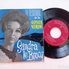 Discos de vinilo: SANDRA LE BROCQ - III FESTIVAL DE LA COSTA VERDE - EP ZAFIRO 1962 // ADOLFO WAITZMAN DUO DINAMICO. Lote 289867813