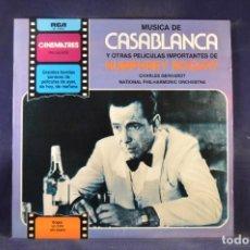 Discos de vinilo: CHARLES GERHARDT / N.P.O. - MUSICA DE CASABLANCA Y OTRAS PELICULAS IMPORTANTES HUMPHREY BOGART - LP. Lote 290096403