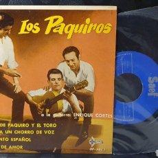 Discos de vinilo: SINGLE/ LOS PAQUIRIS/ A LA GUITARRA ENRIQUE CORTES / *REF.A.18*. Lote 290137958